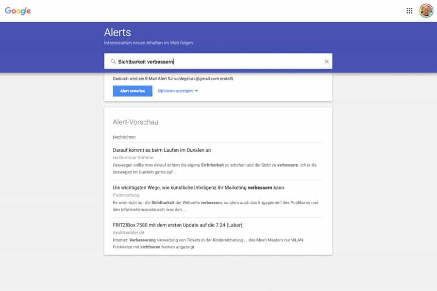 Goole Alerts gehört zu den Google-Tools mit grossem Nutzen