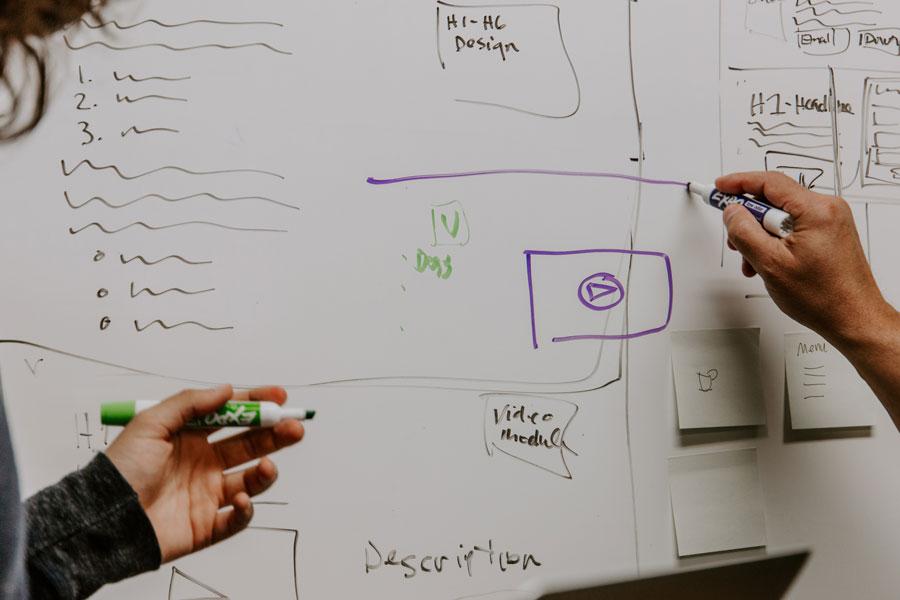 Auf einem Whiteboard wir die Strategie für den Erfolg im Vertrieb entwickelt